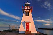 Lighthouse at sunset<br /> Wood Islands<br /> Prince Edward Island<br /> Canada