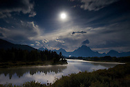 """Moon over Oxbow Bend in Grand Teton National Park<br /> <br /> For production prints or stock photos click the Purchase Print/License Photo Button in upper Right; for Fine Art """"Custom Prints"""" contact Daryl - 208-709-3250 or dh@greater-yellowstone.com"""