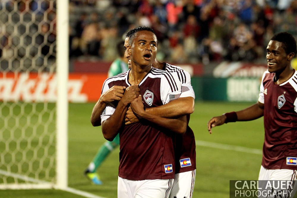 August 3rd, 2013 - Colorado Rapids midfielder Jaime Castrillon (23) celebrates his game tying goal in the second half of action in the Major League Soccer match between Real Salt Lake and the Colorado Rapids at Dick's Sporting Goods Park in Commerce City, CO