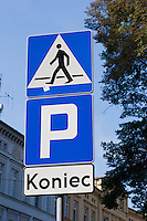 Road sign for pedestrian crossing and parking indicating dead end