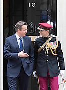 Photographer: Rick Findler<br /> <br /> London, UK. 08.05.15 Newly elected Prime Minister David Cameron leaves 10 Downing Street to make his way to the 70th anniversary service of VE Day.