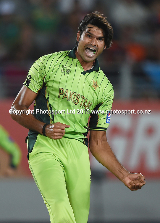 Pakistan's Mohammad Irfan celebrates the wicket of Steyn during the ICC Cricket World Cup 2015 match between South Africa and Pakistan at Eden Park, Auckland. Saturday 7 March 2015. Copyright Photo: Andrew Cornaga / www.Photosport.co.nz
