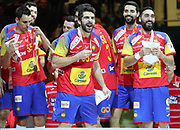 Podium Spain, Gold medal during the EHF 2018 Men's European Championship, Final Handball match between Spain and Sweden on January 28, 2018 at the Arena in Zagreb, Croatia - Photo Laurent Lairys / ProSportsImages / DPPI