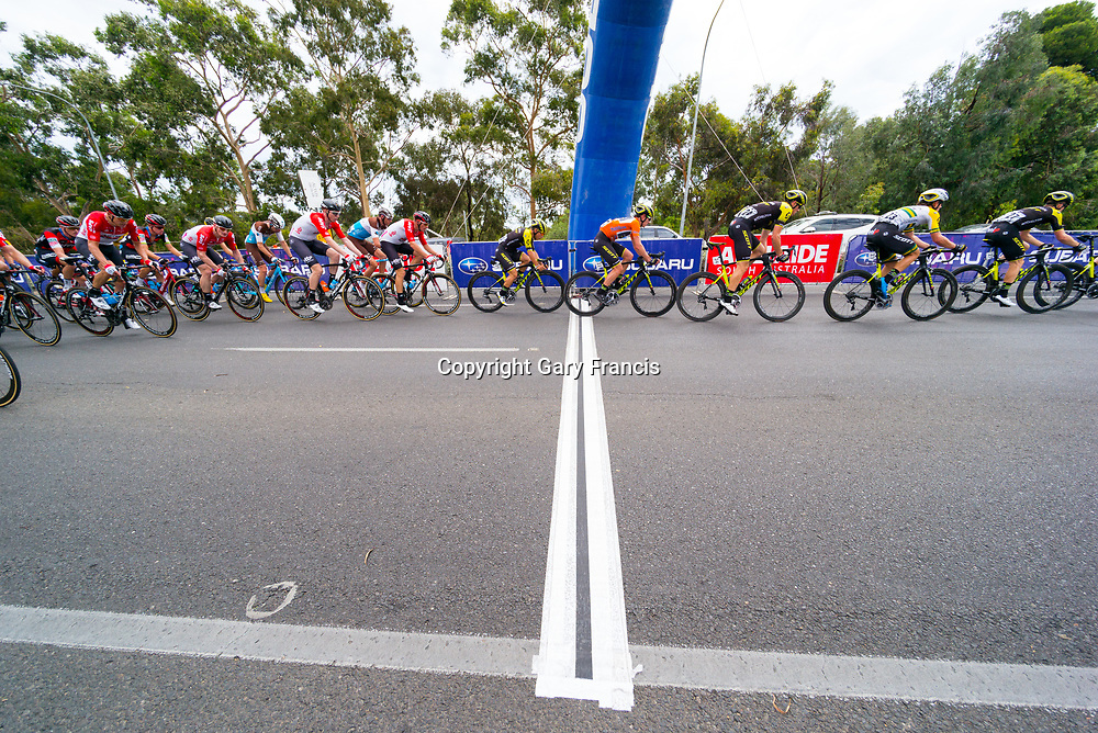 Daryl Impey (4R) passing the King of the Mountain in Stage 6, Adelaide City Circuit, of the Tour Down Under, Australia on the 21 of January 2018 ( Credit Image: © Gary Francis / ZUMA WIRE SERVICE )