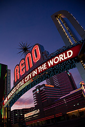 """Reno Arch at Sunset 1"" - Photography of the Biggest Little City in the World Reno Arch at sunset in Downtown Reno, Nevada."