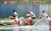Bled, SLOVENIA,  Men's  Eights, GBR M8+ winning the gold medal,  at the 1st FISA World Cup. Third day. .  James FOAD, Mohamad SBIHI, Greg SEARLE, Peter REED, Daniel RITCHIE and Cox Phelan HILL. Rowing Course. Lake Bled.  Sunday  30/05/2010  [Mandatory Credit Peter Spurrier/ Intersport Images]