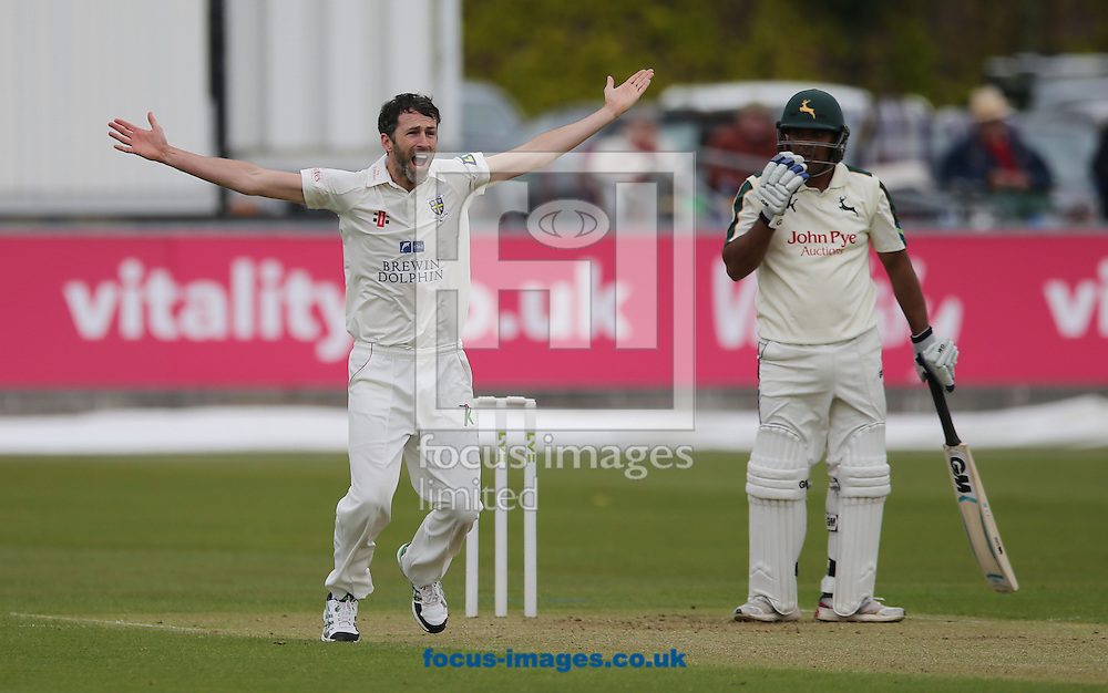 Graham Onions (l) of Durham appeals for the wicket of Samit Patel (r) of Nottinghamshire during the LV County Championship Div One match at Emirates Durham ICG, Chester-le-Street<br /> Picture by Simon Moore/Focus Images Ltd 07807 671782<br /> 10/05/2015