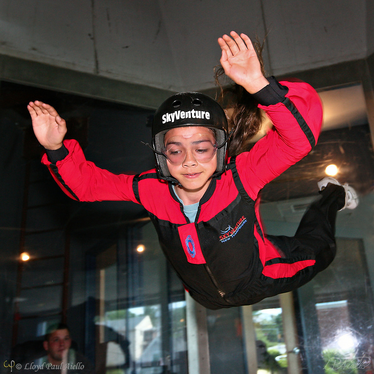 "AJ (age 12) ""Skydiving"" in the wind tunnel, Sky Ventures, Nashua, New Hampshire."