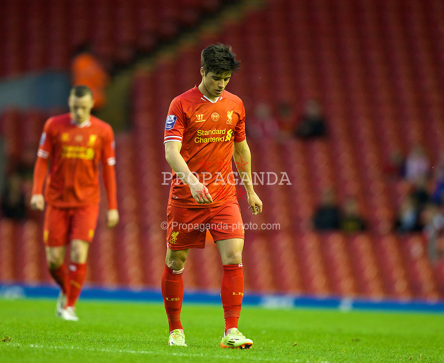 ANFIELD, ENGLAND - Friday, May 2, 2014: Liverpool's Joao Carlos Teixeira looks dejected as he walks off the pitch 1-0 down at half-time to Manchester United during the Under 21 FA Premier League Semi-Final match at Anfield. (Pic by David Rawcliffe/Propaganda)