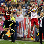HARRISON, NEW JERSEY- OCTOBER 15: Kevin Kratz #8 of Atlanta United and Tyler Adams #4 of New York Red Bulls challenge for the ball during the New York Red Bulls Vs Atlanta United FC, MLS regular season match at Red Bull Arena, Harrison, New Jersey on October 15, 2017 in Harrison, New Jersey. (Photo by Tim Clayton/Corbis via Getty Images)