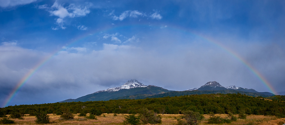 Morning Rainbow while traveling through Torres del Paine National Park. Composite of two images taken with a Fuji X-T1 camera and 23 mm f/1.4 lens.