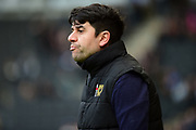 Milton Keynes Dons manager Dan Micciche  during the EFL Sky Bet League 1 match between Milton Keynes Dons and Charlton Athletic at stadium:mk, Milton Keynes, England on 17 February 2018. Picture by Dennis Goodwin.