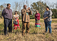 Principal Chief Edward Chretien Jr giving his blessing for the land to be used by L'eau Est La Vie Camp to continue protecting the water. Cherri Foytlin purchased that land for  Louisiana Rise, an advocacy group she founded that focuses on renewable energy and a just transition, which the Bayou Bridge pipeline is slated to cross.