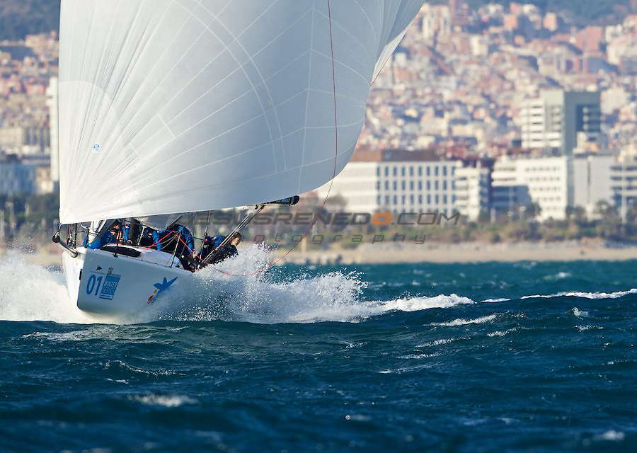 Merchbanc Barcelona Winter Series 2011-2011, second serie december 2011,Melges 32 winter racing organizaed by Real Club Nautico Barcelona..First day of racing with 25 knots of wind