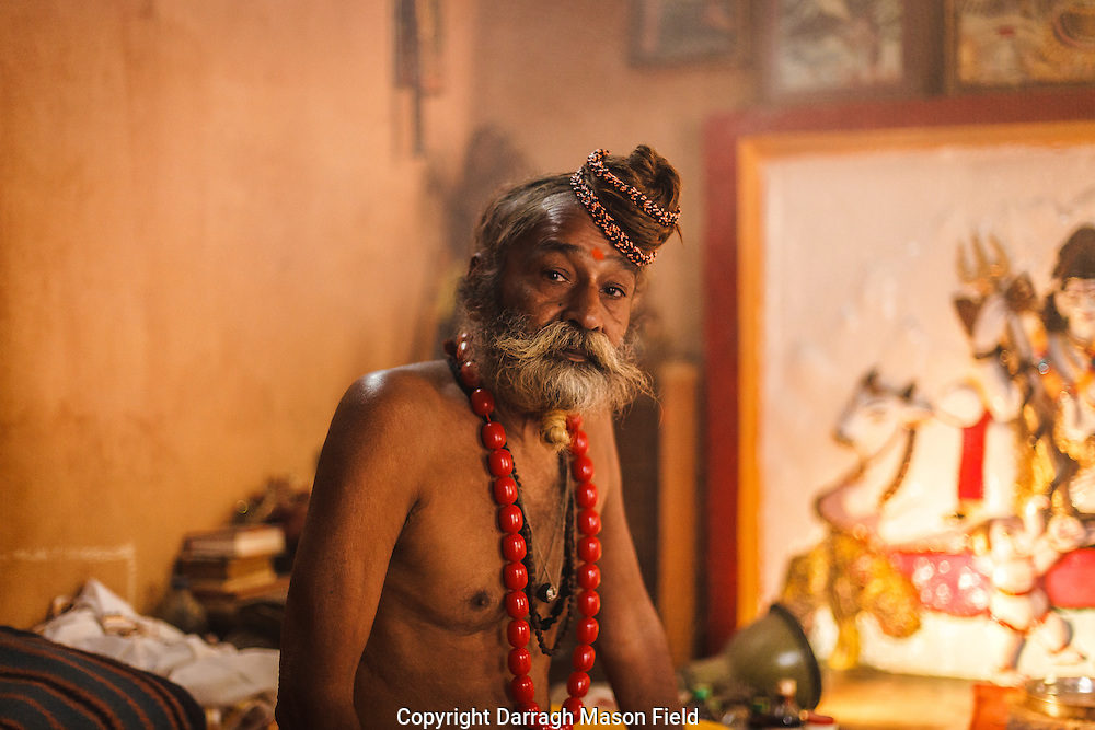 A holy man from Lucknow. I spent some time with him and his followers while the smoked a chillum.