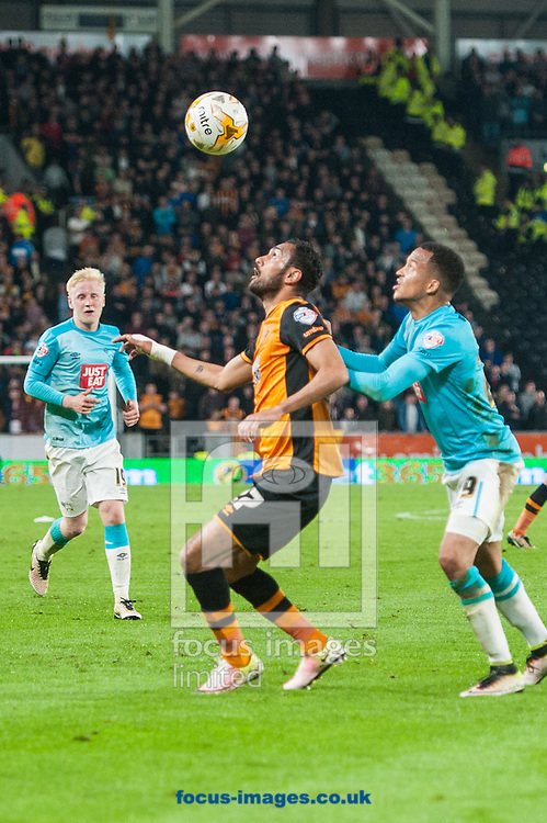 Marcus Olsson challenges Ahmed Elmohamady of Hull City during the Sky Bet Championship Playoff Semi-final Leg Two at KC Stadium, Hull<br /> Picture by Matt Wilkinson/Focus Images Ltd 07814 960751<br /> 17/05/2016