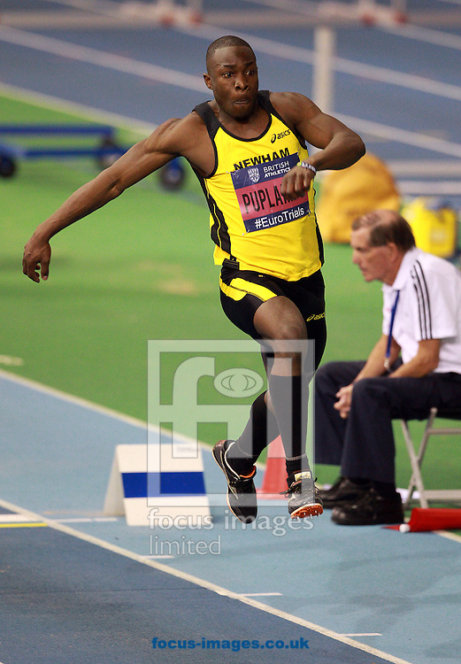 Picture by Paul Terry/Focus Images Ltd +44 7545 642257.09/02/2013.Michael Puplampu competes in the Mens triple Jump final during the UK Championships at the English Institute of Sport, Sheffield.