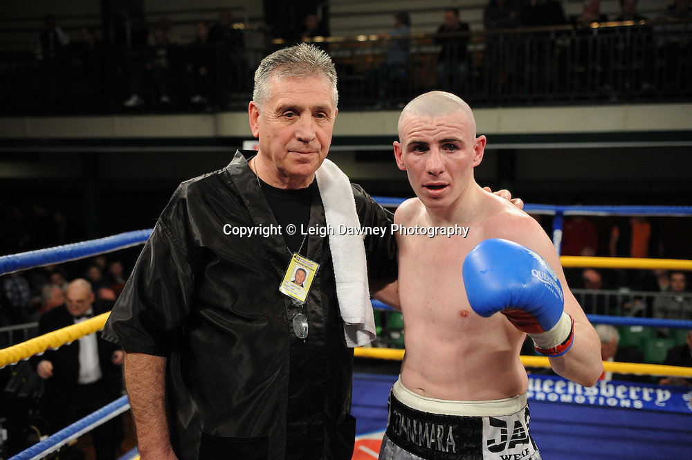 Peter McDonagh with Trainer Jimmy Tibbs defeats Jason Nesbitt in a 6x3 min Welterweight contest at York Hall, Bethnal Green, London on Friday 13th January 2012. Queensbury Promotions © Leigh Dawney 2012