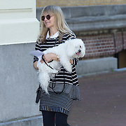NLD/Amsterdam/20130607 - Barbra Streisand assistant laat haar hond uit - Barbra Streisand's assistant with Barbra's dog