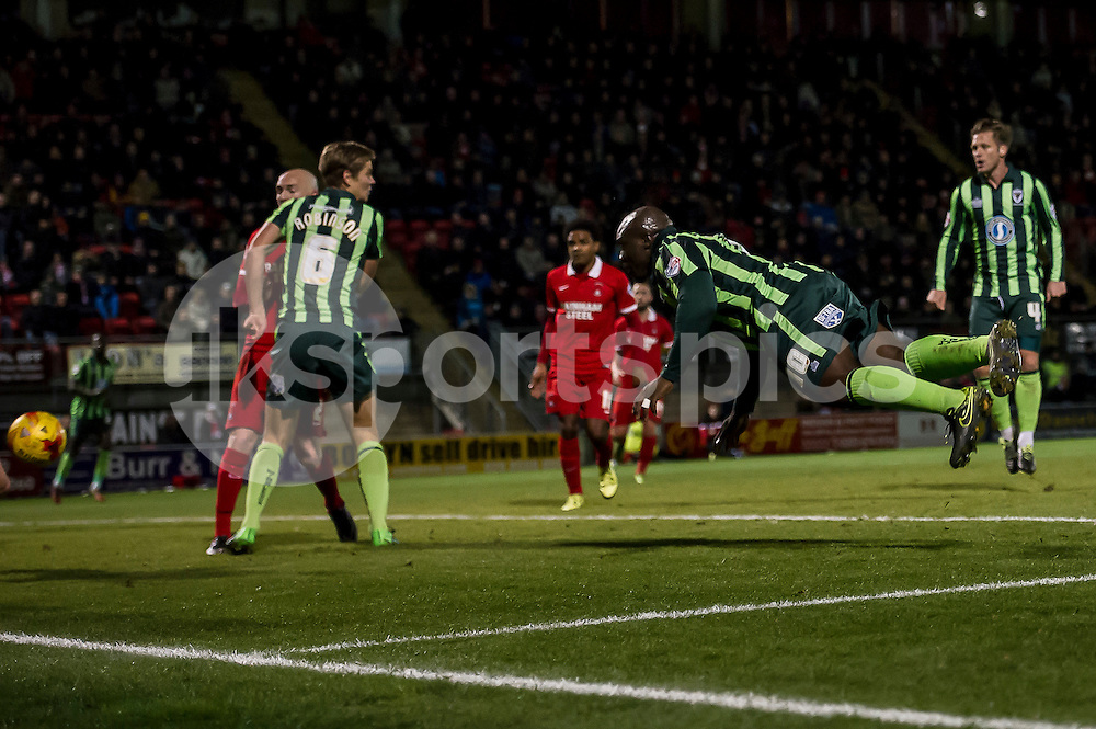 Adebayo Akinfenwa of Wimbledon scores the equiliser during the Sky Bet League 2 match between Leyton Orient and AFC Wimbledon at the Matchroom Stadium, London, England on 28 November 2015. Photo by Salvio Calabrese.