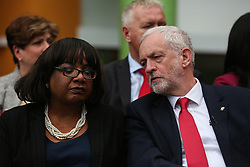© Licensed to London News Pictures. 16/05/2017. Bradford, UK. Labour leader Jeremy Corbyn sits with shadow cabinet member DIane Abbott as he launches the Labour Party's 2017 general election manifesto at an event at Bradford University in West Yorkshire. Photo credit : Ian Hinchliffe/LNP