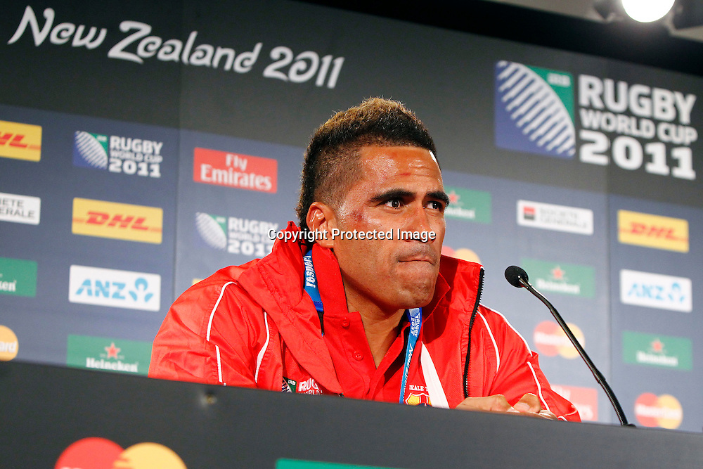 Tonga captain Finau Maka during the New Zealand All Blacks versus Tonga opening pool A match of the 2011 IRB Rugby World Cup. Eden Park, Auckland, New Zealand. Friday 9 September 2011. Photo: Ella Brockelsby / Photosport.co.nz