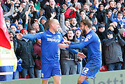 Cotterill celebrates his second with the fans during the Sky Bet Championship match between Nottingham Forest and Birmingham City at the City Ground, Nottingham, England on 28 December 2014. Photo by Jodie Minter.