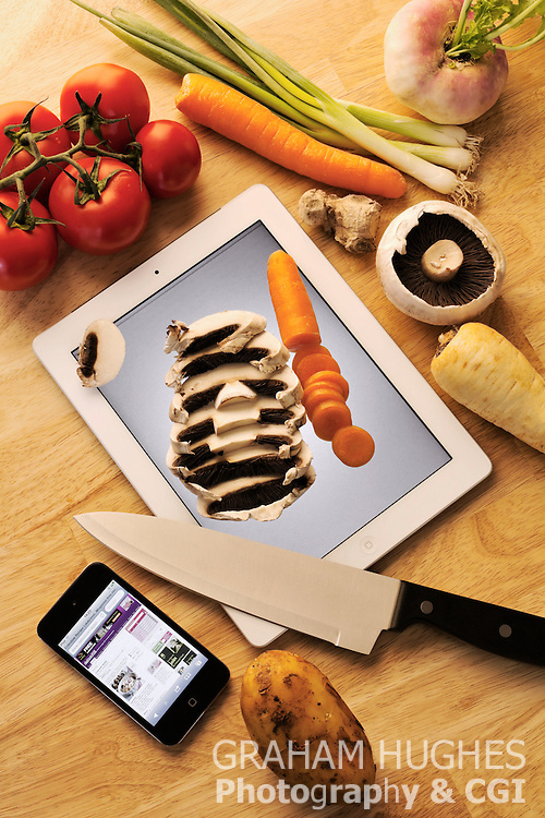 iPad As Cutting Board With Vegetables, Knife & iPod Touch