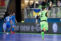 Higuita of Kazakhstan celebrates goal during futsal semifinal match between National teams of Kazakhstan and Spain at Day 9 of UEFA Futsal EURO 2018, on February 8, 2018 in Arena Stozice, Ljubljana, Slovenia. Photo by Urban Urbanc / Sportida