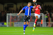 Steven Davies challenges Nathan Thompson during the EFL Sky Bet League 1 match between Swindon Town and Rochdale at the County Ground, Swindon, England on 18 October 2016. Photo by Daniel Youngs.