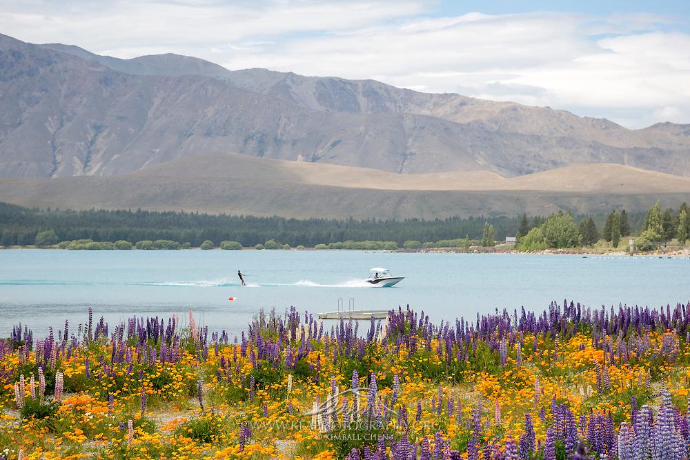 Waterskiing at Lake Tekapo, New Zealand
