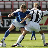 St Mirren v St Johnstone...21.08.04<br />Simon Lappin gets shirty with Ryan Stevenson<br /><br />Picture by Graeme Hart.<br />Copyright Perthshire Picture Agency<br />Tel: 01738 623350  Mobile: 07990 594431