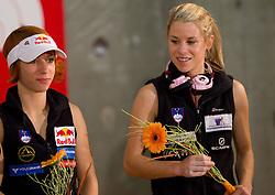 Natalija Gros and Maja Vidmar of Slovenia at flower ceremony during Final IFSC World Cup Competition in sport climbing Kranj 2010, on November 14, 2010 in Arena Zlato polje, Kranj, Slovenia. (Photo By Vid Ponikvar / Sportida.com)