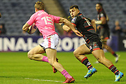 Tony Ensor is tracked by Damien Hoyland during the European Rugby Challenge Cup match between Edinburgh Rugby and Stade Francais at Murrayfield Stadium, Edinburgh, Scotland on 12 January 2018. Photo by Kevin Murray.