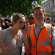 London, UK. 17th June 2017. Speaker, Owen Jones Protest against THERESA MAY demand May to resign and demand Justice for the Grenfell Tower Fire victims and those responsible  to be send to jail outside Downing Street.