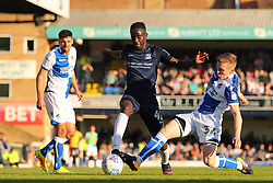 Luke Russe of Bristol Rovers tackles Elvis Bwomono of Southend United - Mandatory by-line: Richard Calver/JMP - 05/05/2018 - FOOTBALL - Roots Hall - Southend-on-Sea, England - Southend United v Bristol Rovers - Sky Bet League One