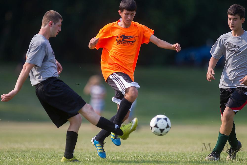 Pitman High School Soccer vs Audubon High School in a summer league match at Alcyon Park in Pitman, NJ on June 28, 2012. (photo / Mat Boyle)