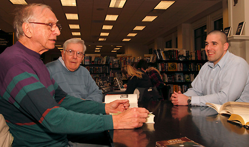 (from left at front table) Joe Hemsky of Fairborn, Eugene August of Kettering and Steve Turek of Oakwood during a meeting of the Classics Book Club at Books & Company in The Greene, Monday, March 5, 2012.
