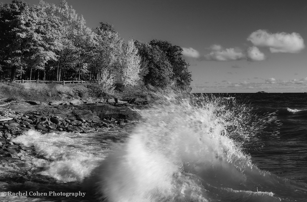 &quot;Crashing Waves in Autumn&quot; mono<br /> <br /> Beautiful strong waves crash against the rocky shores of Presque Isle Park in Marquette Michigan!