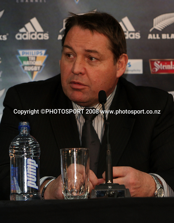 Steve Hansen at the media conference.<br /> Phillips Tri Nations. All Blacks v South Africa, Carisbrook, Dunedin, New Zealand. Saturday 12 July 2008. Photo: Rob Jefferies/PHOTOSPORT