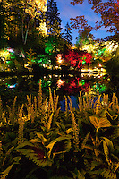Sunken Garden Pond at Night - The Butchart Gardens, Vancouver Island, B.C.