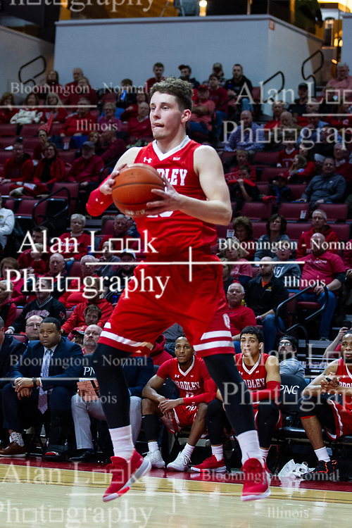 NORMAL, IL - February 26: Ville Tahnanainen collects a rebound during a college basketball game between the ISU Redbirds and the Bradley Braves on February 26 2020 at Redbird Arena in Normal, IL. (Photo by Alan Look)