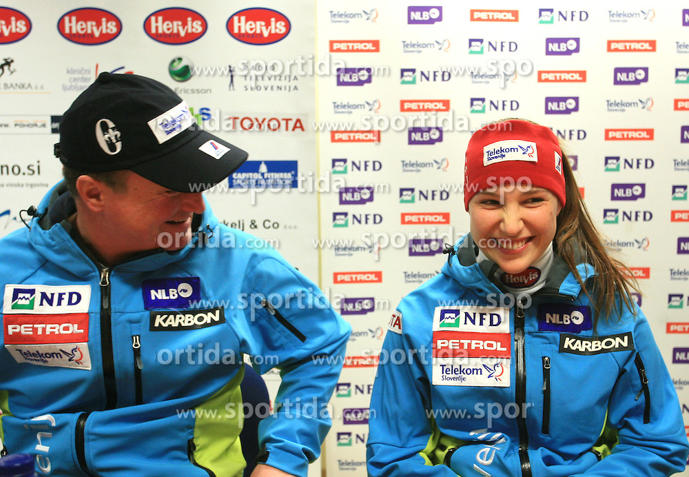 Bozo Jaklin and Mateja Robnik at press conference of Women Slovenian alpine team before the World Championship in Val d'Isere, France, on January 26, 2009, in Ljubljana, Slovenia. (Photo by Vid Ponikvar / Sportida).