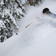 Tyler Hatcher finds super deep snow in the backcountry near Mount Baker Ski Area.