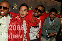 Kanye West in red with glasses and The Bradys at Sprites Street Culture Showcase at Gustavino's on May 23, 2006.