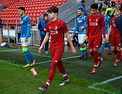 ST HELENS, ENGLAND - Monday, December 10, 2018: Liverpool's Neco Williams walks out before the UEFA Youth League Group C match between Liverpool FC and SSC Napoli at Langtree Park. (Pic by David Rawcliffe/Propaganda)