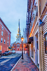 The North Church as seen from Church Street in Portsmouth, New Hampshire. hDR.