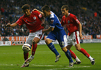 Photo: Steve Bond.<br /> Leicester City v Barnsley. Coca Cola Championship. 27/10/2007. Dennis Souza (L) manages to obstruct Matty Fryatt (C) run