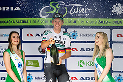 Pascal Ackermann (GER) of Bora - Hansgrohe celebrates at trophy ceremony after 1st Stage of 26th Tour of Slovenia 2019 cycling race between Ljubljana and Rogaska Slatina (171 km), on June 19, 2019 in  Slovenia. Photo by Matic Klansek Velej / Sportida