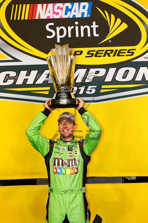 Homestead, FL - Nov 23, 2015: Kyle Busch (18) wins the 2015 NASCAR Sprint Cup Championship following the FORD EcoBoost 400 at Homestead Miami Speedway in Homestead, FL.
